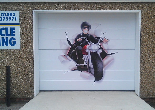 Garage door vinyl wrap dunsfold surrey scotts signs for Garage wraps