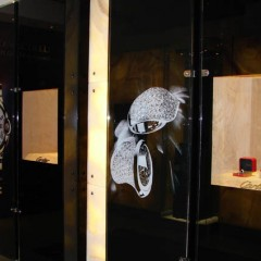 Digital Print applied to Glass Cabinets and Jewellery Display, Harrods London