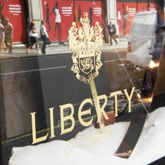 Traditional Gold Leaf Horsham. Hand Painted Logo, Liberty London
