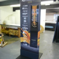 Event Signage Horsham. 10mm acrylic panel in freestanding base.