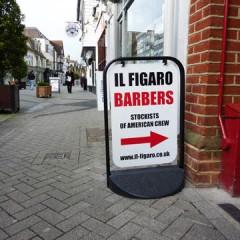 Cut vinyl lettering, Pavement sign Swinger frame