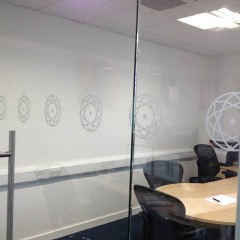 Glass manifestation. Etched partition graphics, Leatherhead