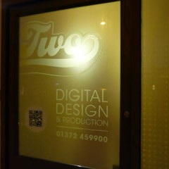 Office Signage. Two tone etched film to doors, Leatherhead Surrey
